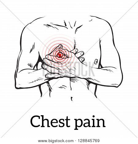 Information about heart pain, chest pain in men, , vector sketch hand-drawn illustration of heart and human patients suffering from chest pains man holding chest