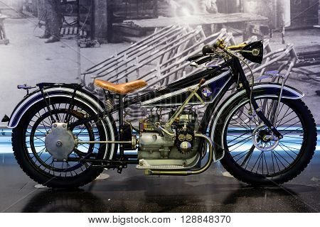 Munich Germany April 19 2016 - BMW museum. BMW R 32 first motorcycle of German manufacturer. Produced from 1923 until 1926.