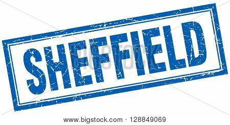 Sheffield blue square grunge stamp on white