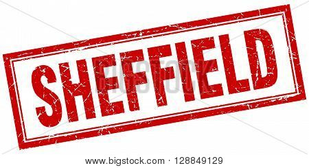 Sheffield red square grunge stamp on white