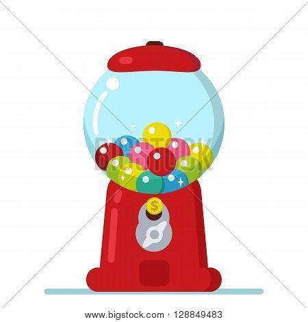 Vector illustration of Gumball machine in cartoon style.