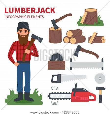 Lumberjack character with lumberjack tools. Vector Infographic elements.