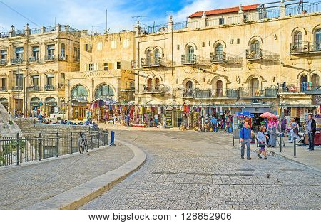 JERUSALEM ISRAEL - FEBRUARY 18 2016: The street of Omar Ben el-Hatab is the part of every tourist route here locates many landmarks cafes and souvenir shops on February 18 in Jerusalem.