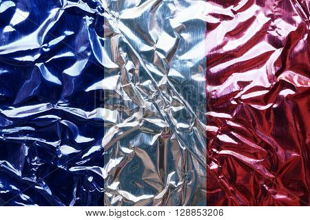 A foil French flag background or texture.