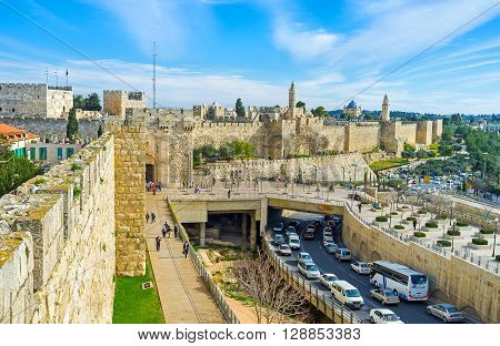 JERUSALEM ISRAEL - FEBRUARY 18 2016: The white stone walls of Jerusalem are one of the notable landmarks of the city on February 18 in Jerusalem.