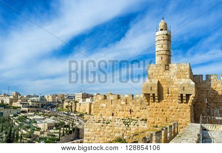 The high minaret of the Ottoman Mosque located inside the David's Tower Jerusalem Israel. poster