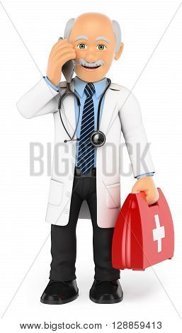3d medical people illustration. Doctor standing talking on mobile phone. Isolated white background.