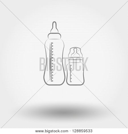 Simple line web icon Baby feeding bottles. Vector illustration on a white background. Doodle, cartoon style.