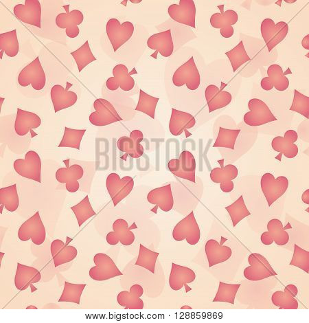 Seamless vector background with suits of playing cards. Beige cloth with a pink pattern of club diamond spade heart.