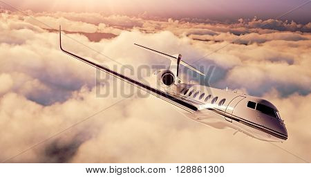 Realistic picture of White Luxury generic design private airplane flying over the earth. Empty sunset sky with huge white clouds  background. Business Travel Concept. Horizontal. 3D rendering