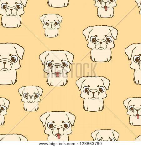 Seamless pattern with pug puppies. Cute little dogs in cartoon style. Seamless wallpaper with sweet puppies for children. Brown pug pup. Hand drawn vector illustration on yellow background