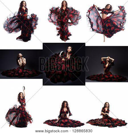 Collage of beautiful brunette posing in gypsy dance