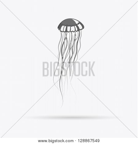 Monochrome jellyfish floating in space. Gelatinous jellyfish with long tentacles isolated on white background. Marine creature floating in water. Inhabitant of underwater world. Vector illustration