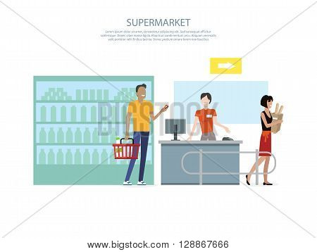 People in supermarket interior design. People shopping, supermarket shopping, marketing people, market shop interior, customer in mall, retail store vector illustration