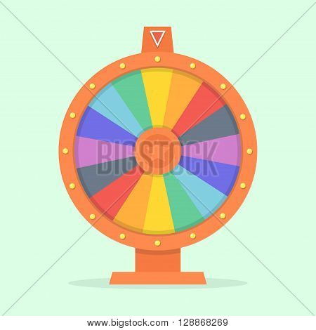 Wheel of fortune vector illustration of a flat. Colorful game wheel. Empty wheel of fortune isolated from the background. Wheel of chance concept. Wheel of fortune flat design template.