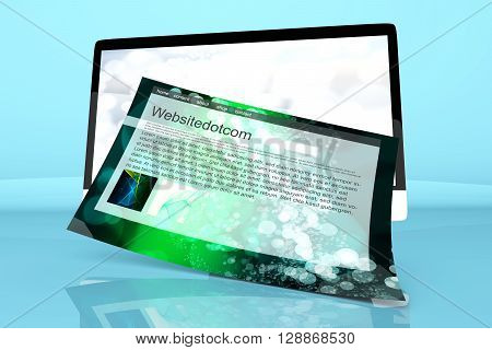 A modern All in one computer with a generic website coming out of the screen. 3D Illustration.