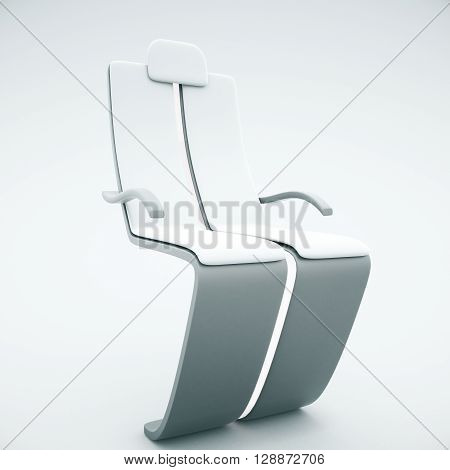 Sideview of futuristic chair on light background. 3D Rendering