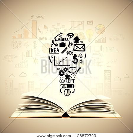 Idea concept with open book lightbulb and business sketches on light brown background. Creative business sketching. Abstract image containing education and business objects