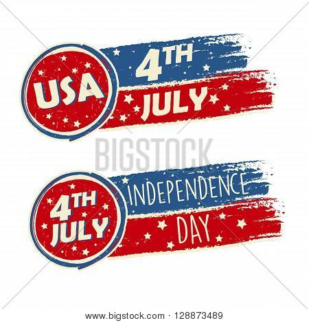 USA Independence Day and 4th of July with stars in drawing banners - American holiday concept
