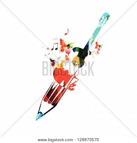 Vector illustration of colorful pencil with guitar