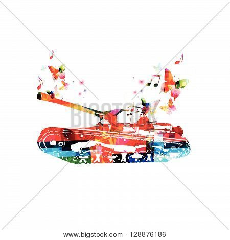 Vector illustration of colorful tank with butterflies