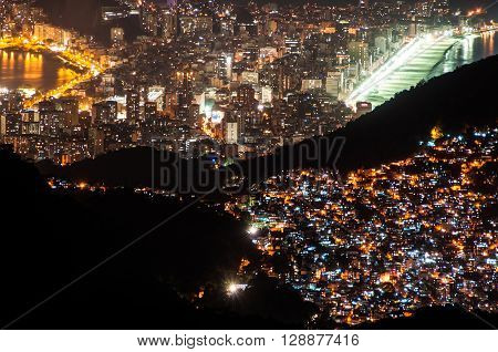 Rocinha Slum and Leblon and Ipanema at Night