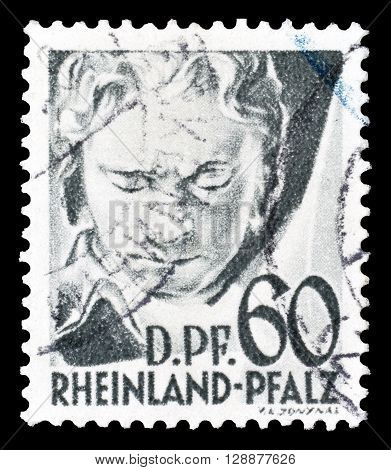 GERMANY - CIRCA 1947 : Cancelled postage stamp printed by Germany, that shows Beethoven.