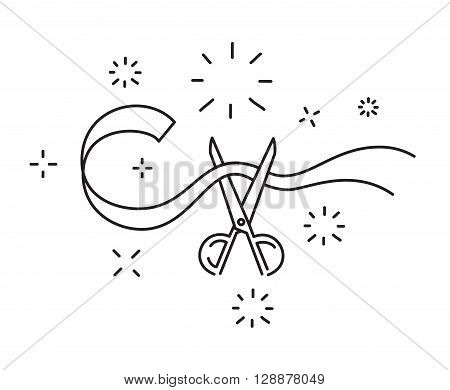 Scissors cut the ribbon line icon opening ceremony symbol vector illustration.