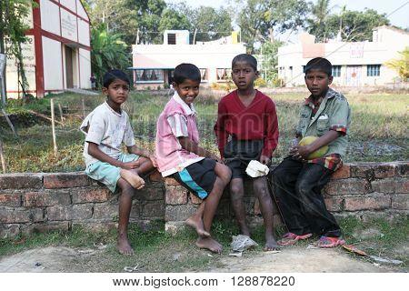 KUMROKHALI, WEST BENGAL, INDIA - JANUARY 13: Portrait of tribal children in a village Kumrokhali, India on January 13, 2009.