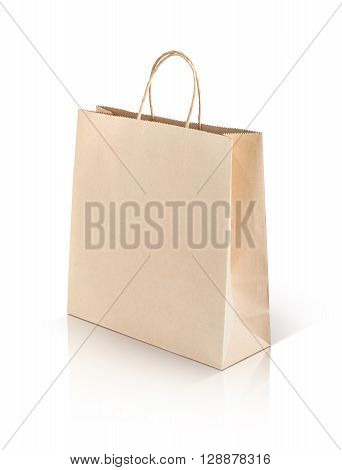 recycled paper kraft shopping bag isolated on white background