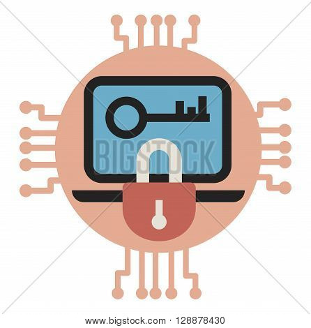 Vector illustrarion of Data encryption and protection.
