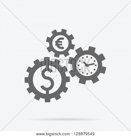 Time is money concept. Interconnection business processes, abstract design of gearwheel mechanism of money dollar and euro. Time passing with currency symbol. Gears of time spin coins money vector