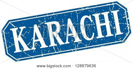 Karachi blue square grunge retro style sign