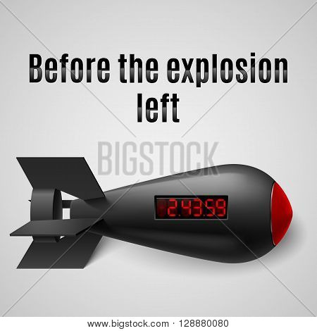 Illustration of a black bomb isolated on a gray background with timer