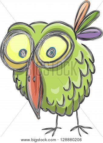 Funny cartoon bird sketch vector isolated on white