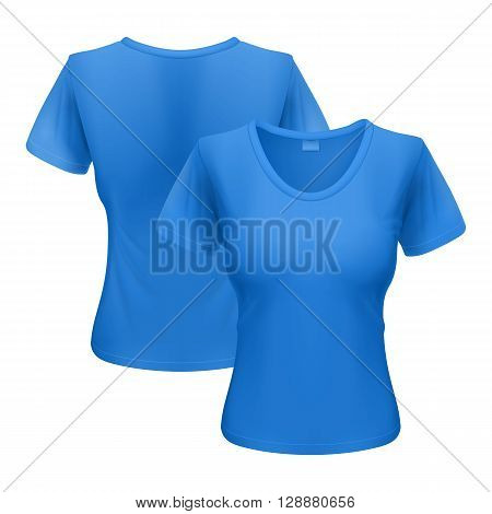Womens blue T-shirt isolated on white background