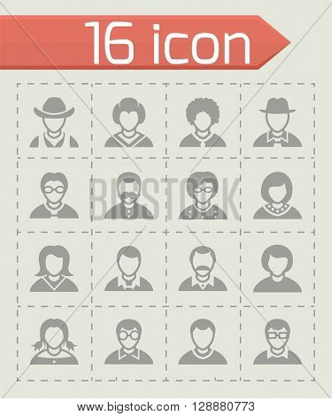 Vector People icon set on grey background