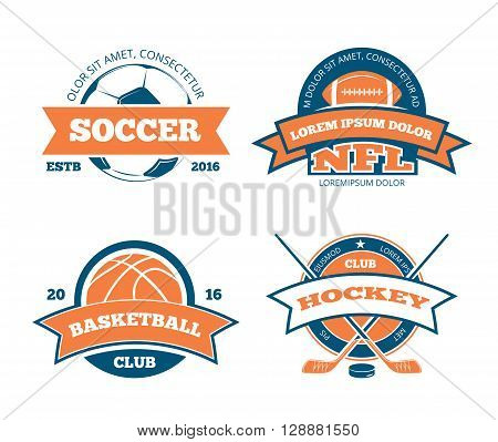 American football, basketball, soccer, hockey sports team vector labels, emblems, logos and badges. Sport american football, logo sport, label sport soccer, sport hockey illustration