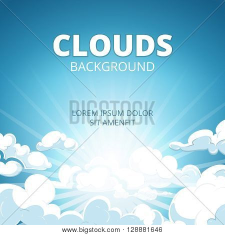 Sunrise in blue sky with clouds vector background. Sunrise sky and sunrise sunlight, sunshine sunrise illustration