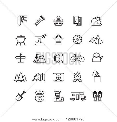 Summer camping vector line icon set. Summer travel camping icon, tourism camping icon, vacation camping outdoor icon illustration