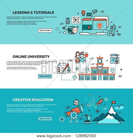Online education, on-line training courses, staff training, web tutorials vector banners set. Online knowledge teaching, study online page, online course illustration
