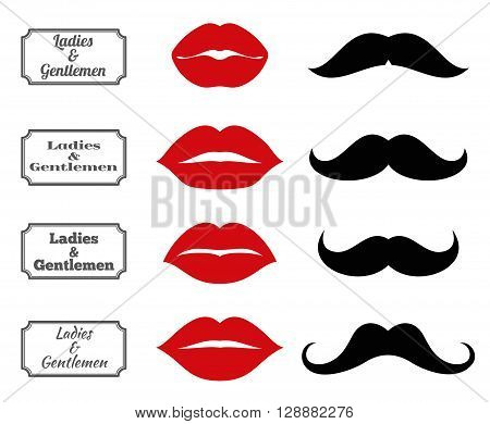 Ladies and gentlemen bathroom symbols. Vector lips and moustache icons. Lip and moustache fashion, vintage silhouette lip and moustach, hipster lip and moustach illustration