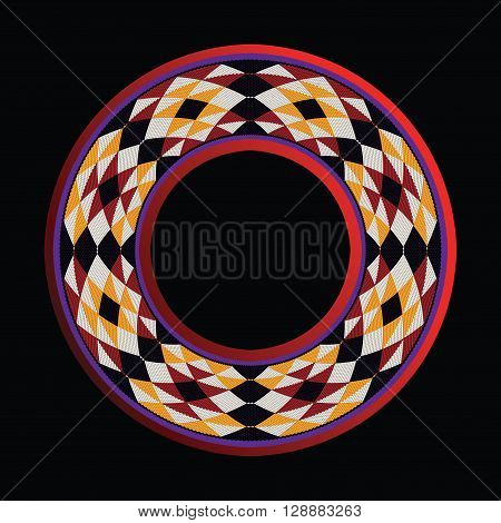 Triangles Sadu Style Weaving Theme Circle Frame