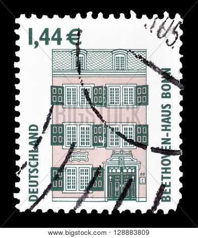 GERMANY - CIRCA 2003 : Cancelled postage stamp printed by Germany, that shows Beethoven House in Bonn.