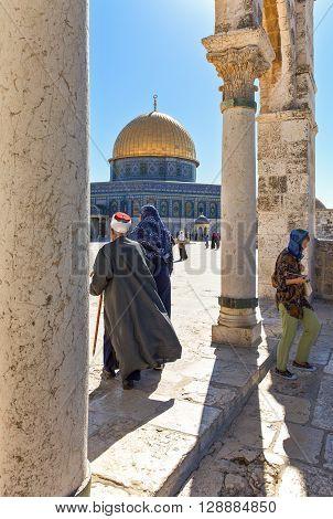 Jerusalem Israel - November 3 2010: Local people on the Temple Mount (Har Habait)