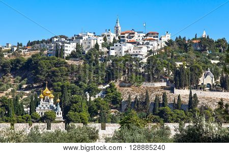 Israel Jerusalem view on the Mount of Olives from the Temple Mount (Har Habait)