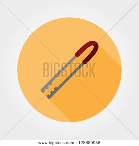 Kitchen tongs. Icon for web and mobile application. Vector illustration of a button with a long shadow. Flat design style.
