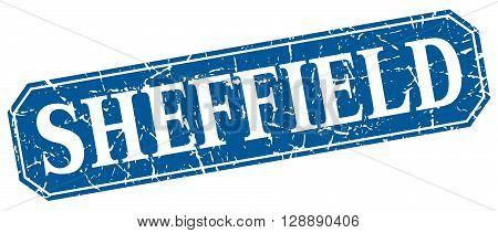 Sheffield blue square grunge retro style sign