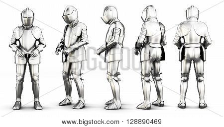 Set of different view armor isolated on white background. 3d rendering