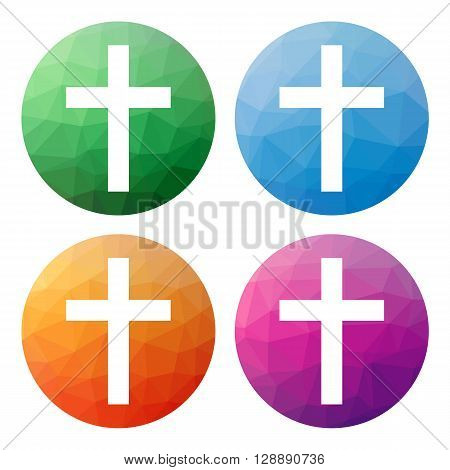 Set  Of 4 Isolated Modern Low Polygonal Buttons - Icons - For Latin Cross, Symbol Of Christianity